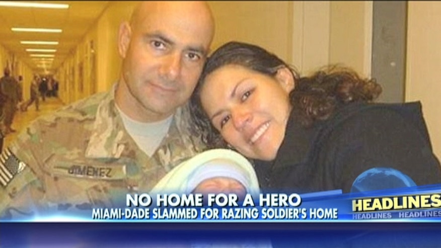 Army Staff Sergeant Jesus Jimenez home was demolished while he was away on training.
