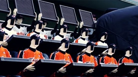 Baseball team builds robot fans.