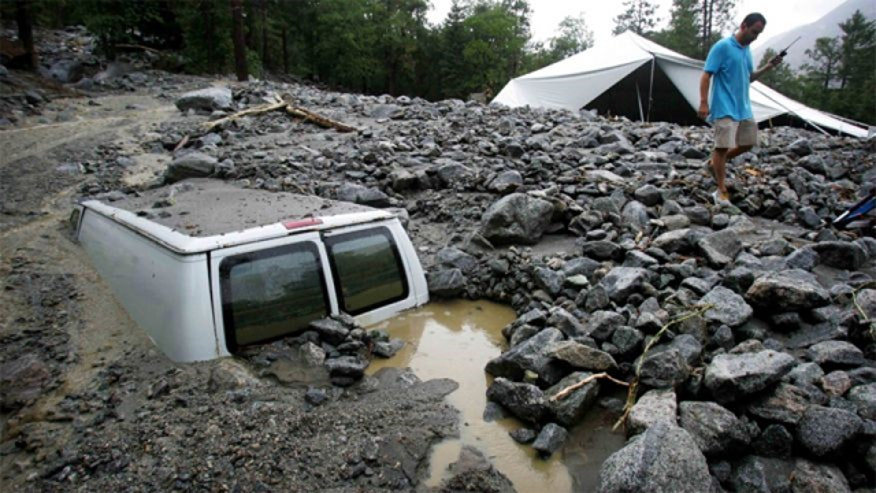 Mudslides triggered by recent thunderstorms