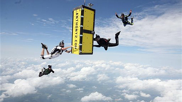 Daredevil survives skydive from plane locked in coffin