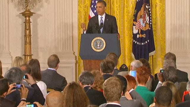 President Obama faces the White House press corps