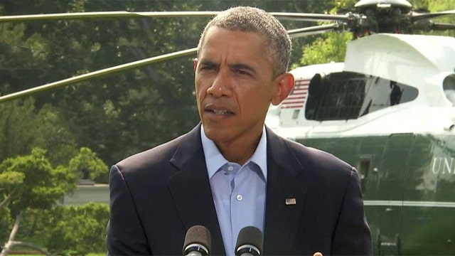 President Obama gives a statement on the Iraq situation