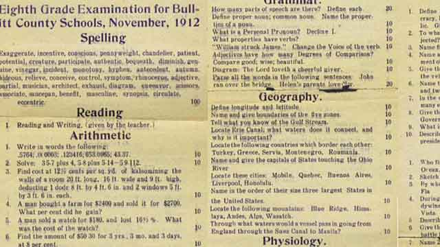 Are you smarter than a 1912 8th grader?