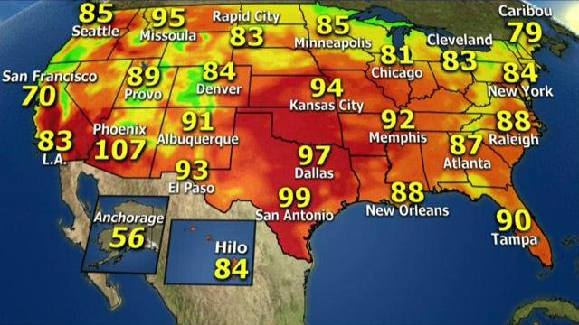 National forecast for Thursday, August 22