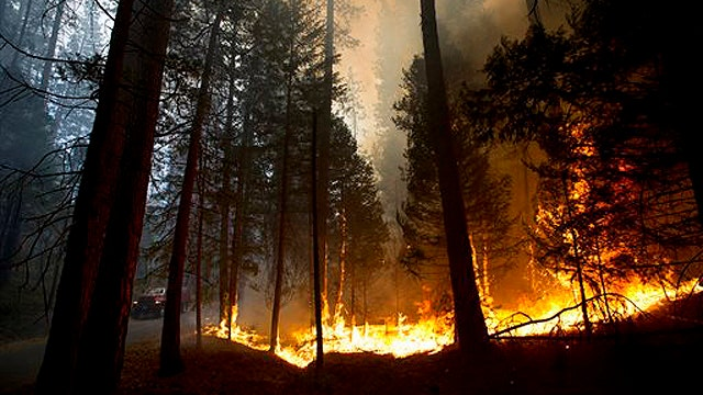 Calif. wildfire doubles in size, spreads into Yosemite