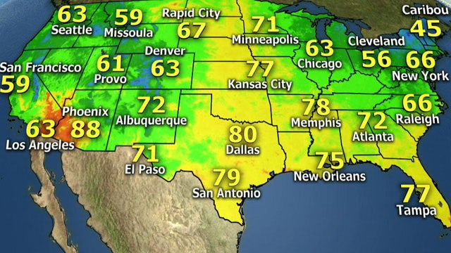 National forecast for Saturday, August 24