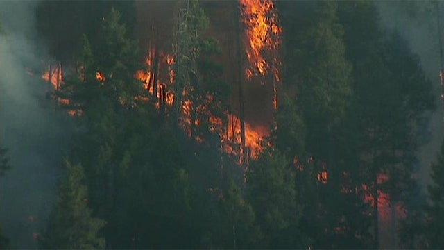 Wildfires rage through the area of Yosemite National Park