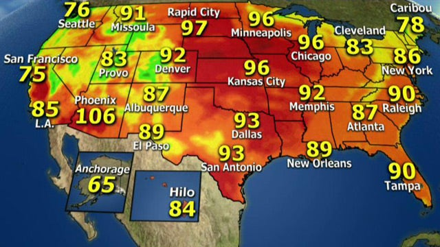 National forecast for Tuesday, August 27