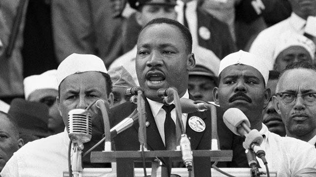 Awaiting ceremony marking anniversary of Dr. King's speech