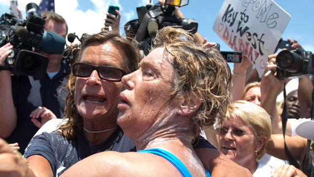 Diana Nyad completes epic 110-mile Cuba-to-Florida swim at age 64, without shark cage