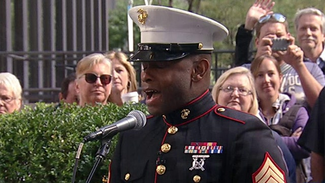 Marine uses his gift to sing National Anthem