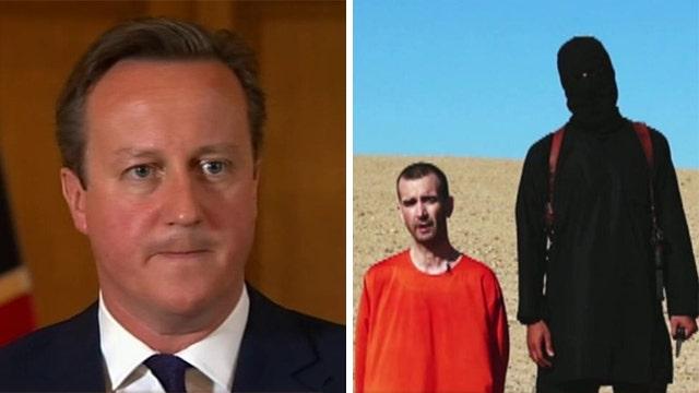 British PM David Cameron reacts to recent ISIS beheading