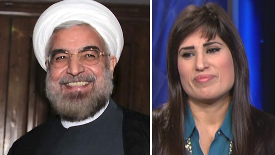Nagmeh Abedini gives letter from her husband, Pastor Saeed, to members of Iranian delegation