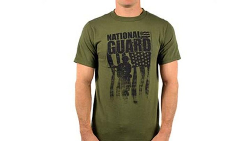 New York high school teachers take issue with soldier holding weapon on shirt