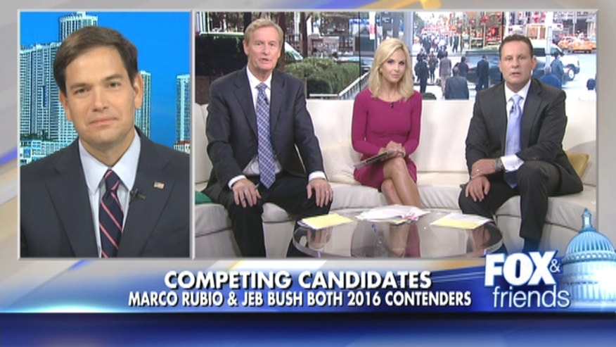 Senator Rubio says his decision to run for president won't be affected by Jeb Bush's decision.
