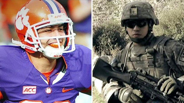 War hero earns spot on top-flight college football team