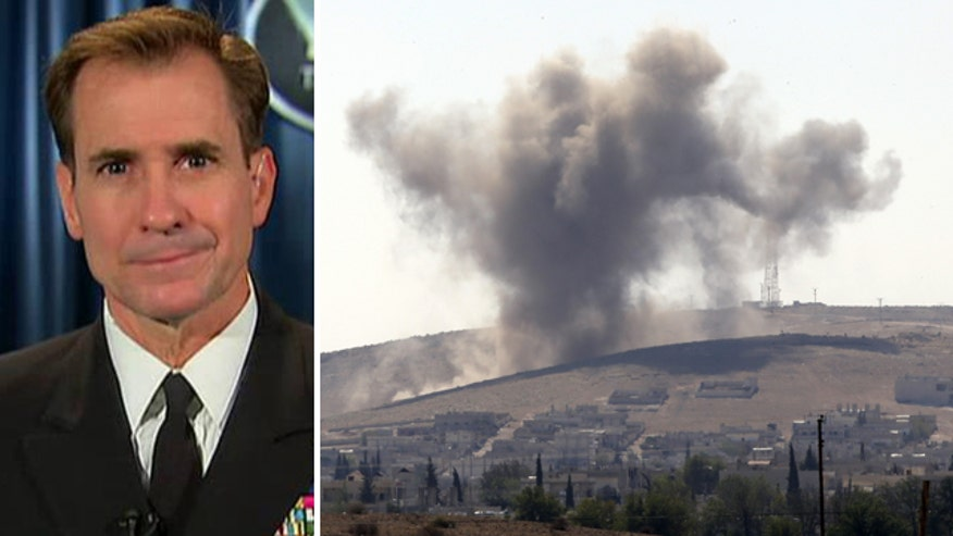 Rear Adm. John Kirby addresses limits of airstrikes as militants close in on key Syria border town