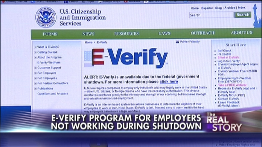 E-Verify the federal online program that employers use for checking a person's name, social security number and proof of citizenship is offline during the government shutdown because it is not considered an essential service.