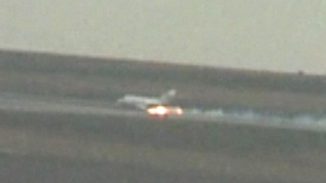 Sparks fly as private jet makes emergency landing in Denver