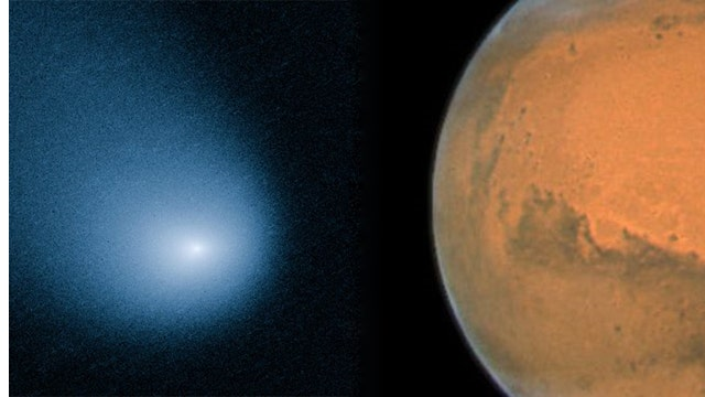 Comet makes rare close encounter with Mars
