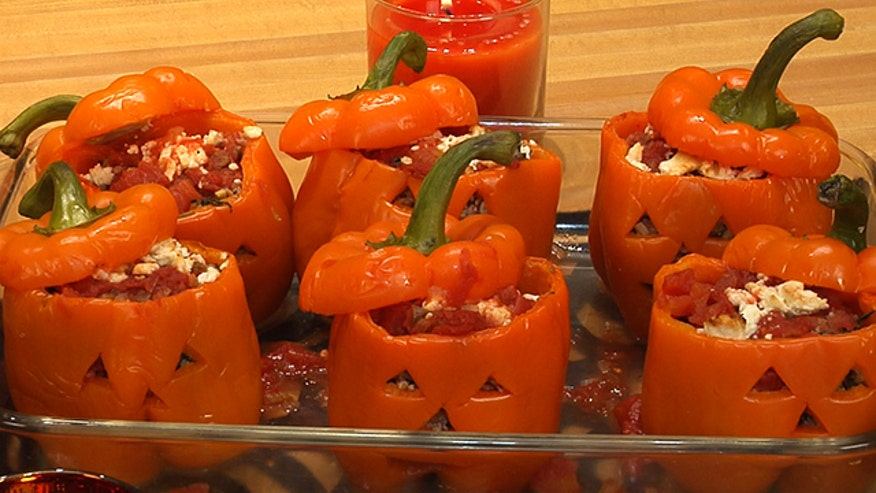 Food Network star Ellie Kreiger gives stuffed peppers a Halloween makeover.