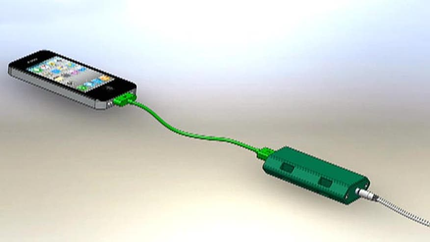 A charger uses the power of the pedal to charge smartphones