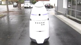 The robot was put into place to try and deal with the number of needles, car break-ins and other crimes that have reportedly come from a nearby encampment of homeless people.