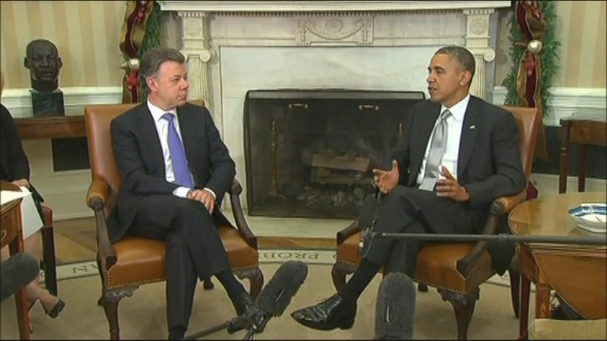 President Obama congratulated Colombian President Juan Manuel Santos on taking bold steps toward peace in his country.