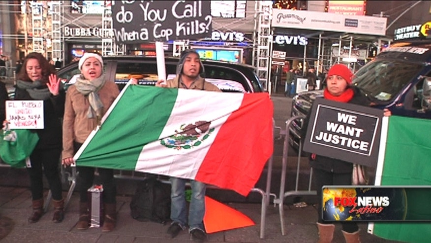 The #USTired2 movement held rallies in over 43 U.S. cities, including New York, over missing 43 Mexican students and US drug war funding in Mexico.