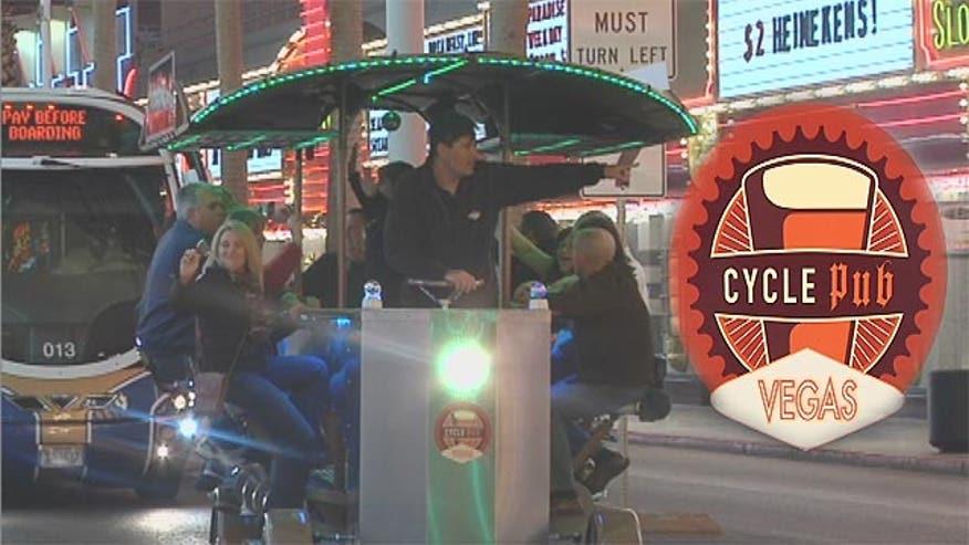 Cycle Pub Vegas allows groups of fourteen people to peddle their way around downtown Las Vegas.