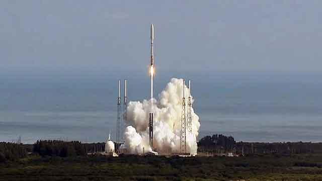 Secret Air Force space plane blasts off