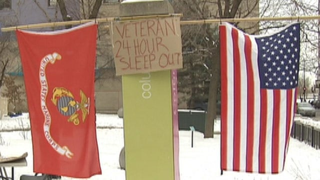 College students brave the cold for homeless veterans