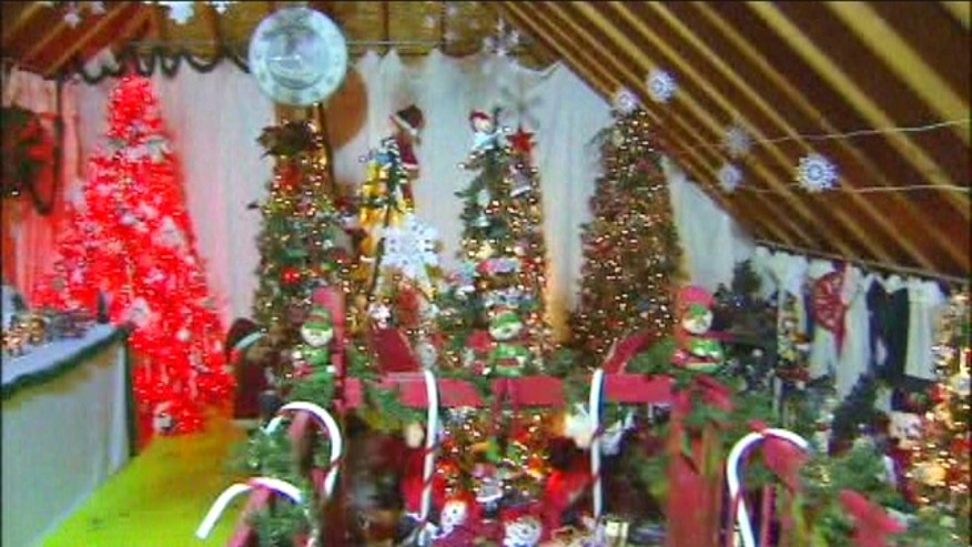 Woman displays holiday spirit with 277 Christmas trees inside her home.