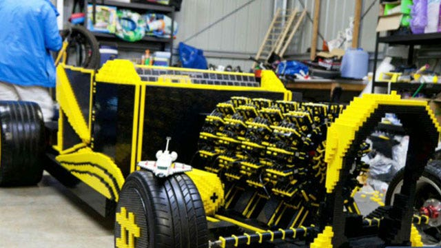 Drivable car made of 500,000 Lego pieces