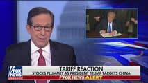 On Thursday, Chris Wallace handles the reins today in an action packed news hour, going over the stock market's response to President Trump's tariffs on China, the House's approval of the 1.3 Trillion dollar spending bill, and Fox contributor John Bolton to be replacing H.R. McMaster as National Security Advisor.