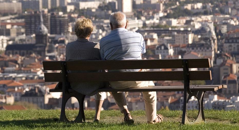 Retirement Retired Couple on Bench (FBN)