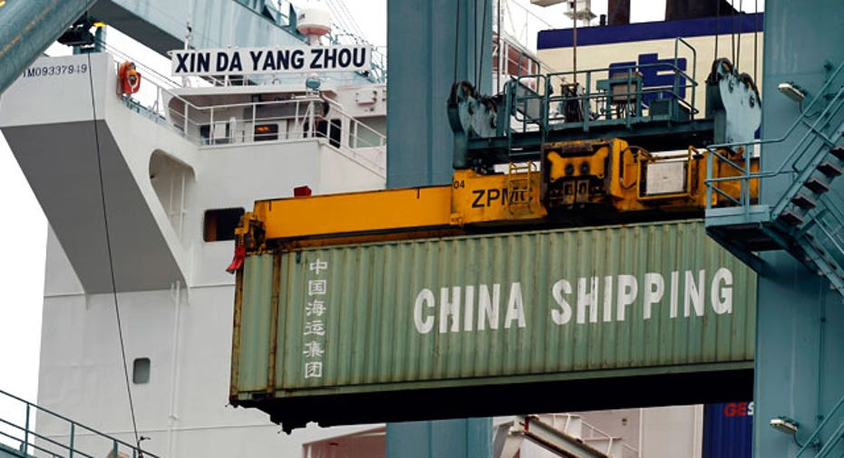 China Shipping Container Unloaded From a Ship