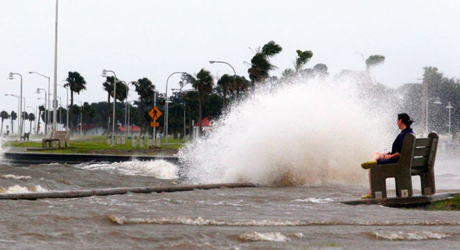 Hurricane Isaac Waves Woman Bench