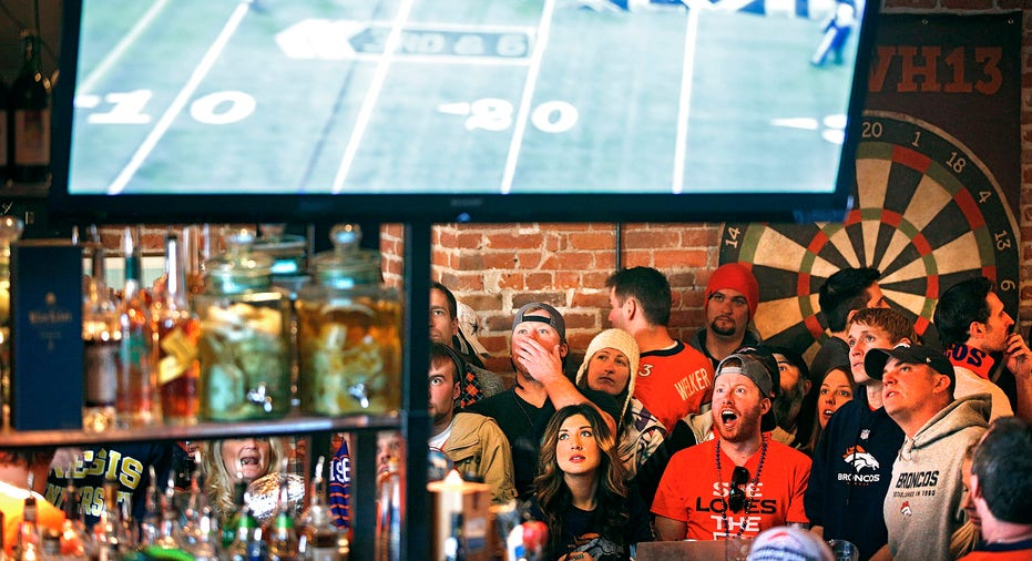 Football game on TV, Broncos, sports bar FBN