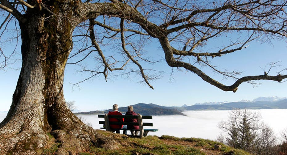retirement, couple, bench, baby boomers, grandparents