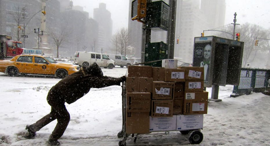 NYC, New York, worker, UPS, delivery, winter, snow