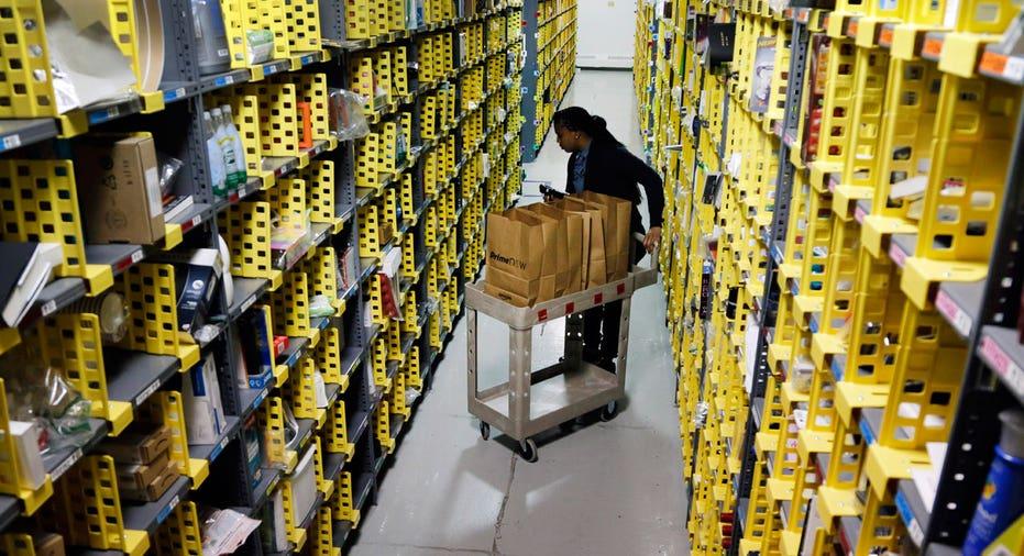 Amazon warehouse aisle, Amazon employee, e-commerce AP FBN