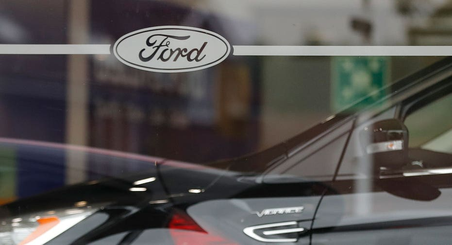 Ford logo on London dealership FBN AP