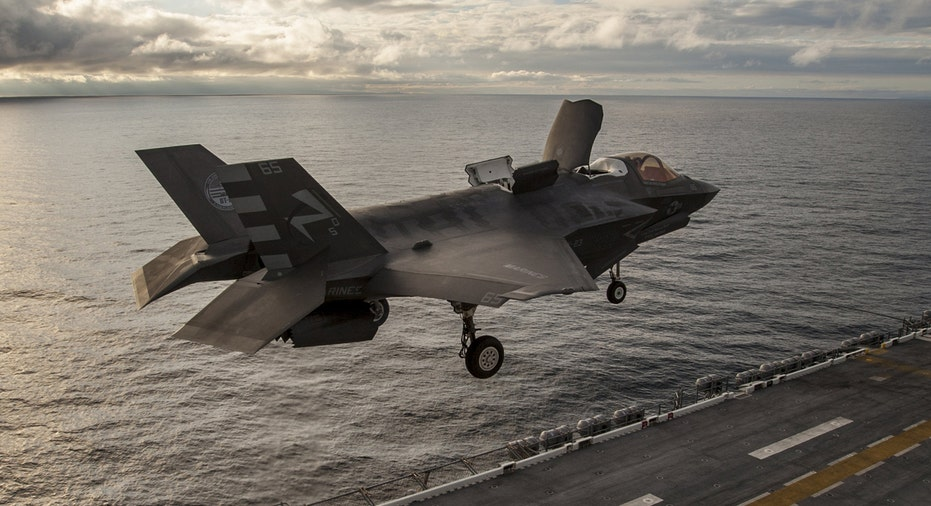 Lockheed Martin F-35 over ship FBN