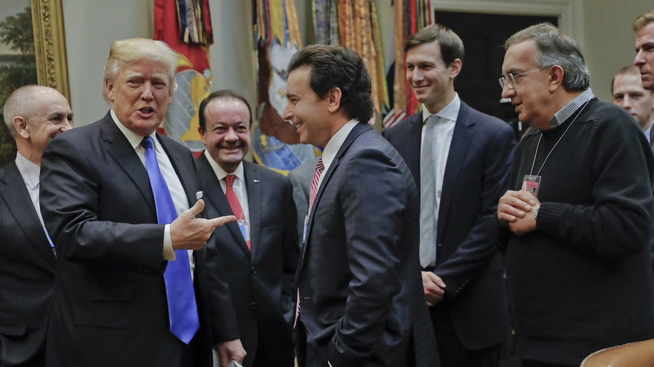 Mark Fields Ford Sergio Marchionne Fiat Chrysler with President Trump FBN