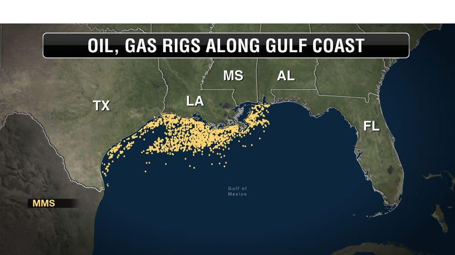 Gulf Coast oil rig map
