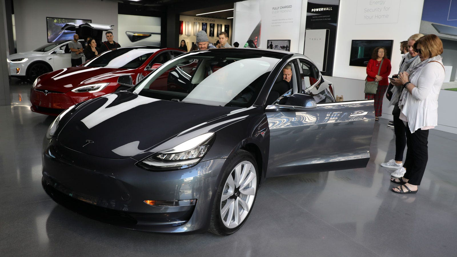 Tesla Show Of Electric Car To Reporters