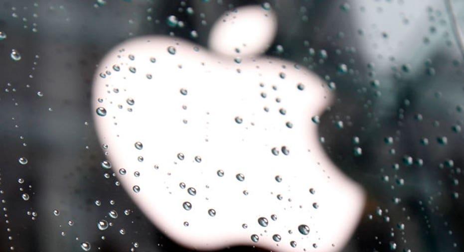 Apple Logo Seen Through Raindrops