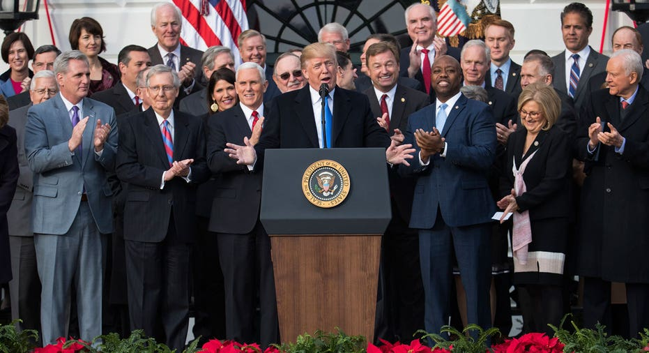 Trump with Republican lawmakers at White House, tax bill AP FBN