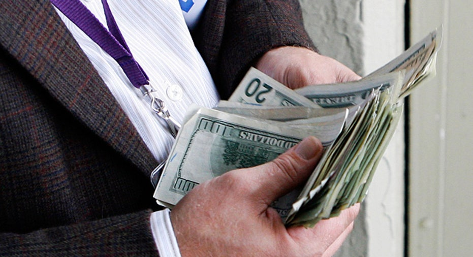 Man Counting Money Cash Dollars